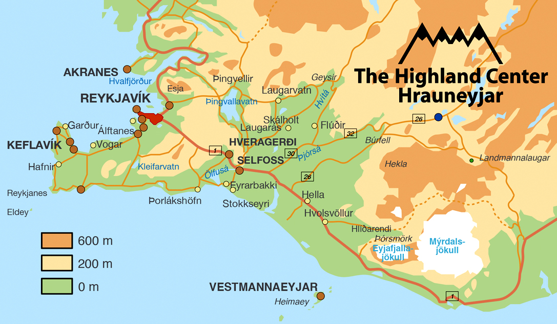 Location And Map The Highland Center Hrauneyjar - Reykjavík map